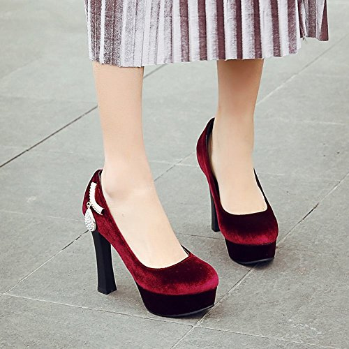 Carolbar Donna Ciondolo Strass Tacco Alto Scarpe Con Tacco Vino Rosso