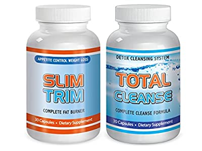 Total Weight loss pills Fat Burn System Maximum Diet Rapid Fast Control Appetite Suppressant detox -Kit Slim Trim & Cleanse 60 Pills One The Day