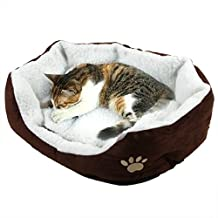 EverTrust(TM)Soft Pet Dog Nest Puppy Cat Bed Fleece Warm House Kennel Plush Mat 4 Colors,Coffee