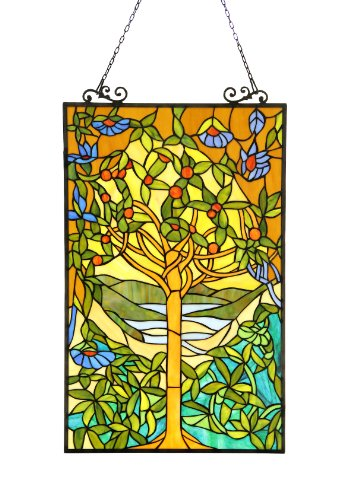 Chloe Lighting Eden Tiffany-Glass Window Panel 20x32