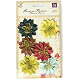 Prima 543471 Solid Coordinates Mulberry Paper Flower Embellishments, Road Trip
