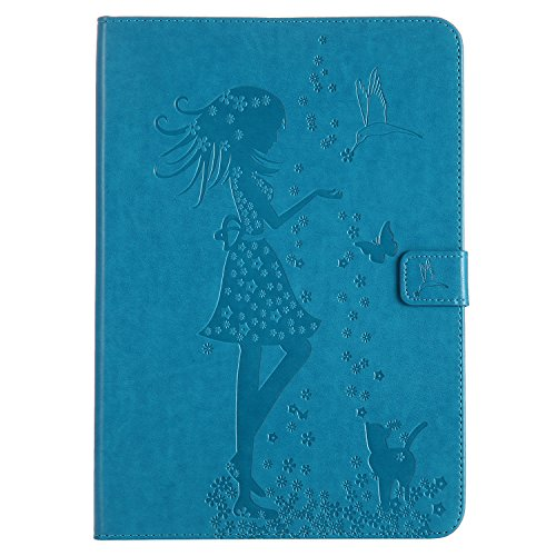 Samsung Galaxy Tab A 9.7 Case, BONROY® Samsung Galaxy Tab A 9.7 T550 Smart Case Cover Girl and Cat pattern series Ultra Slim Smart-shell Built-in Stand Auto Wake/Sleep For Samsung Galaxy Tab A 9.7 T55 Girl and cat - blue