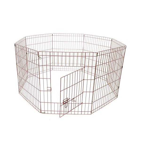 ALEKO SDK-30P Heavy Duty Pet Playpen Dog Kennel Pen Exercise Cage Fence 8 Panel 30 x 24 Inches Pink Click on image for further info.