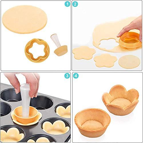 Pastry Dough Tamper Kit,Creative Cake Cup Presser Plastic Flower Round Mold Set,Plastic Pastry Tamper Tart Shell Molds,DIY Baking Kit Cake Cup Press Biscuit Mold