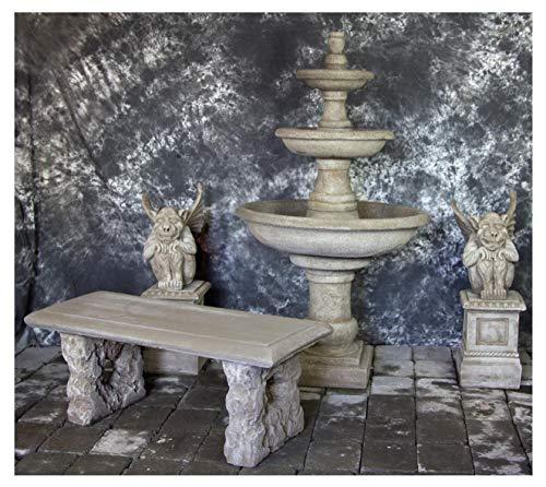 Fleur de Lis Garden Ornaments LLC Three Tier Renaissance Fountain with Gargoyles on Egg and Dart Pedestals with Bench Package Number 1034