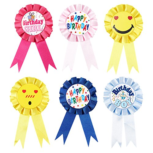 Set of 6 Birthday Ribbons - Participation Ribbons, Award Party Supplies for Children's Birthdays, Blue, Yellow, Pink, and Red Colors - 3.6 x 6.7 Inches