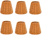 Upgradelights Set of 6 Wicker Chandelier Lamp Shade 5 Inch Bell, Clips onto Bulb. 3x5x4.5