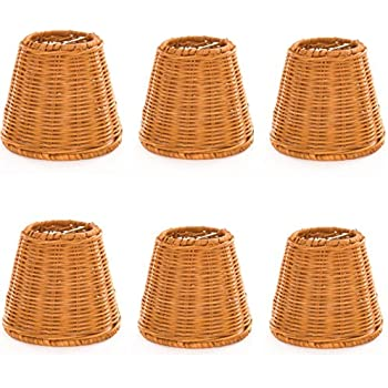 Upgradelights set of 6 wicker chandelier lamp shade 5 inch bell upgradelights set of 6 wicker chandelier lamp shade 5 inch bell clips onto bulb mozeypictures Gallery