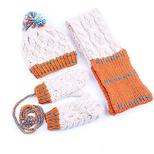 GYH Scarf LJHA weijin Women 's Hooded Scarves Gloves Pure Hand Woven Thickening Winter Three-Piece Birthday Beige/Blue (Color : Beige)