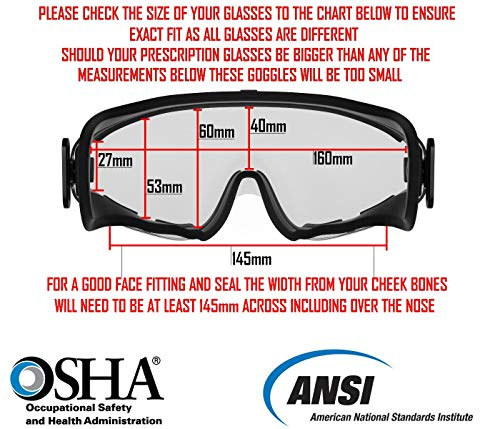 4112f376a39 Safety Goggles Fits Over Prescription Glasses Clear Anti Fog Anti Scratch  Impact Splash Proof For
