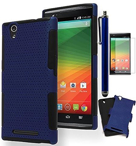 ZTE Zmax Case, Bastex Heavy Duty Hybrid Soft Black Silicone Cover Hard Blue Mesh Design Case for ZTE Zmax Z970**INCLUDES SCREEN PROTECTOR AND (Zte Zmax Phone Case Z970)