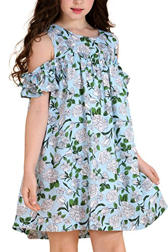 AuroraBaby Chiffon Cold Shoulder Hawaiian Dresses for Girls Kids Green Beach Big Girls Dress 7-16 Size 13-14 -