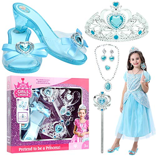 VGOFUN Girl Princess Dress up Shoes Role Play Shoes for Little Girls Toddler Age 3-6 (Blue)