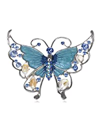 Large Synthetic Sapphire Crystal Rhinestone Enamel Paint Butterfly Statement Pin Brooch