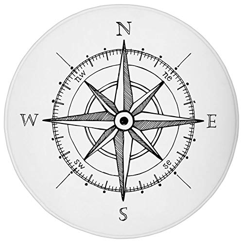 Round Rug Mat Carpet,Compass,Hand Drawn Compass Windrose North and South East West Directions Black and White,Black White,Flannel Microfiber Non-Slip Soft Absorbent,for Kitchen Floor Bathroom -