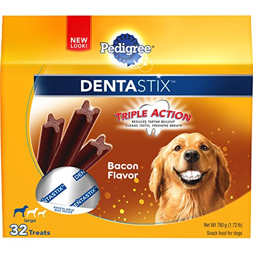 PEDIGREE DENTASTIX Large Dog Chew Treats, Bacon, 32 Treats (Bacon Flavor Dog Bone)