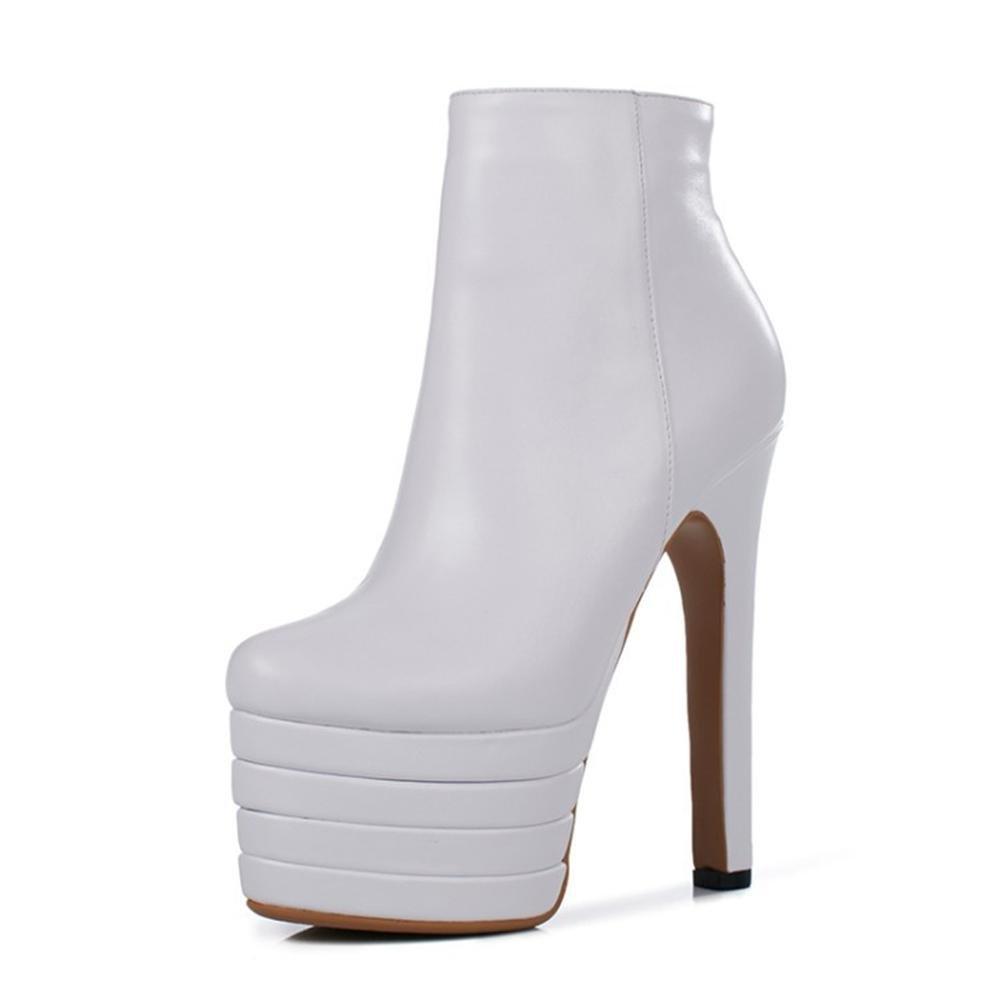 NVXIE Damen Kurze Stiefel Rough High Heel Schuhe Neue Mode Runder Kopf Wasserdicht Echtes Leder Schwarz Weiß Orange Herbst Winter