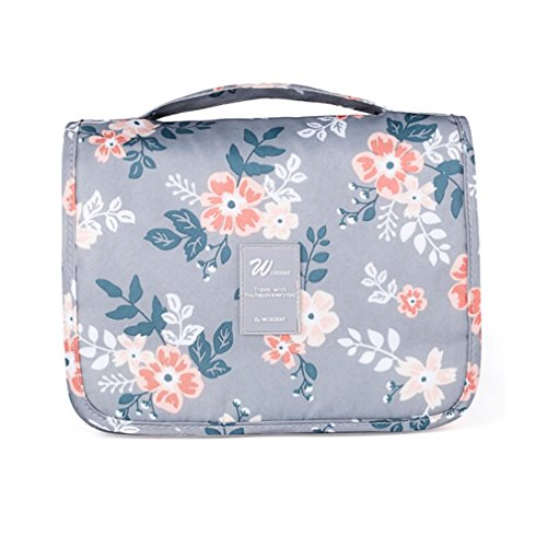 (Ac.y.c Hanging Toiletry Bag-Portable Travel Organizer Cosmetic Make up Bag case for Women Men Shaving Kit with Hanging Hook for vacation(Light Grey Flower))