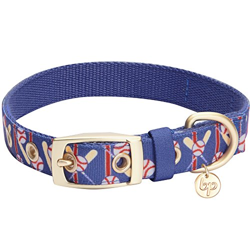 Blueberry Pet 5 Patterns Durable Sports Fan Baseball Canvas Dog Collar with Metal Buckle in Navy Blue, Neck 17-20.5