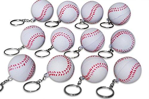 Novel Merk 12 Pack Baseball Keychains for Kids Party Favors & School Carnival -