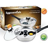 Eggssentials Poached Egg Maker - Nonstick 2 Egg Poaching Cups - Stainless Steel Egg Poacher Pan FDA Certified Food Grade Safe PFOA free With Bonus Spatula