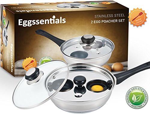 Cheap Eggssentials Poached Egg Maker – Nonstick 2 Egg Poaching Cups – Stainless Steel Egg Poacher Pan FDA Certified Food Grade Safe PFOA free With Bonus Spatula