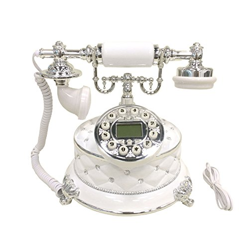 HPPFOTRS White Retro Vintage Antique Style Push Button Dial Caller ID Display Desk Telephone Home Living Room Decor (Style Telephone)
