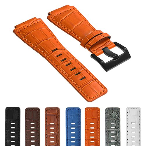 - DASSARI Croc Embossed 24mm Leather Watch Band Strap w/ Matte Black Buckle