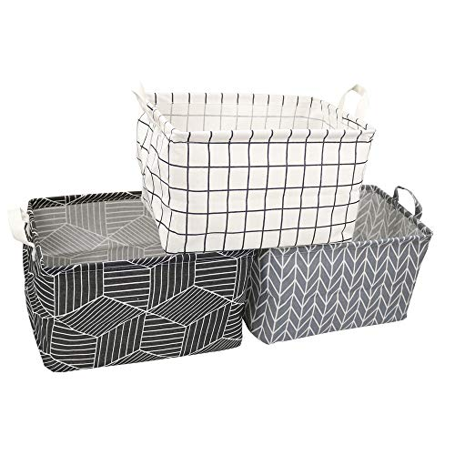 3 Pack Rectangle Storage Bins, Waterproof Collapsible Canvas Bucket for Organizing Toys, Books, Clothing and Other -