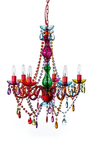 The Original Gypsy Color 6 Light Large Gypsy Chandelier H27″ W23″, Red Metal Frame with Multi Color Crystals