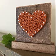 Sweet & small freestanding wooden orange string art heart sign. Perfect for birthday gifts, home accents, Wedding favors, Anniversaries, nursery decoration and just because gifts. by Nail it Art.