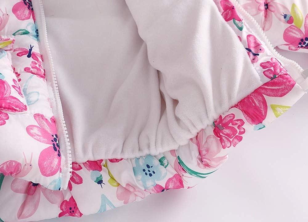 Sothread Toddler Baby Girls Boys Floral Stars Winter Warm Jacket Hooded Windproof Coat Outwear