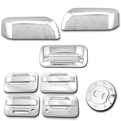 AutoModZone Chrome ABS 4 Door Handle Cover with PSG Keyhole with Keypad + Tailgate Handle Cover with Keyhole + Top Half Mirror Cover + Gas Cover Combo for 04-08 Ford F-150