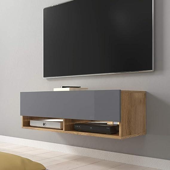 Selsey 5.90303E+12 Mueble para televisor, Chêne Wotan/Gris Brillant, Avec LED: Amazon.es: Juguetes y juegos