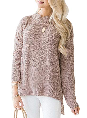 Dokotoo Womens Solid Fashion Solid Ladies Winter Autumn Casual Long Sleeve Crewneck Popcorn Lightweight Knitted Pullover Sweater Tops Blouse Pink Large