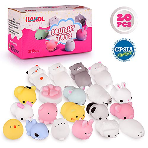 HAKOL Premium Cute Squishy Toy Set - Mini Animal Kawaii Squishies for Children & Adults - CPSIA Certified, Great Stress & Anxiety Relief Benefits - Great Gift Idea! - 20 pcs