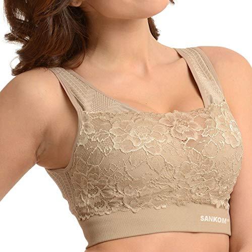 SANKOM Beige Classic Support and Posture Lace Bra XXXL