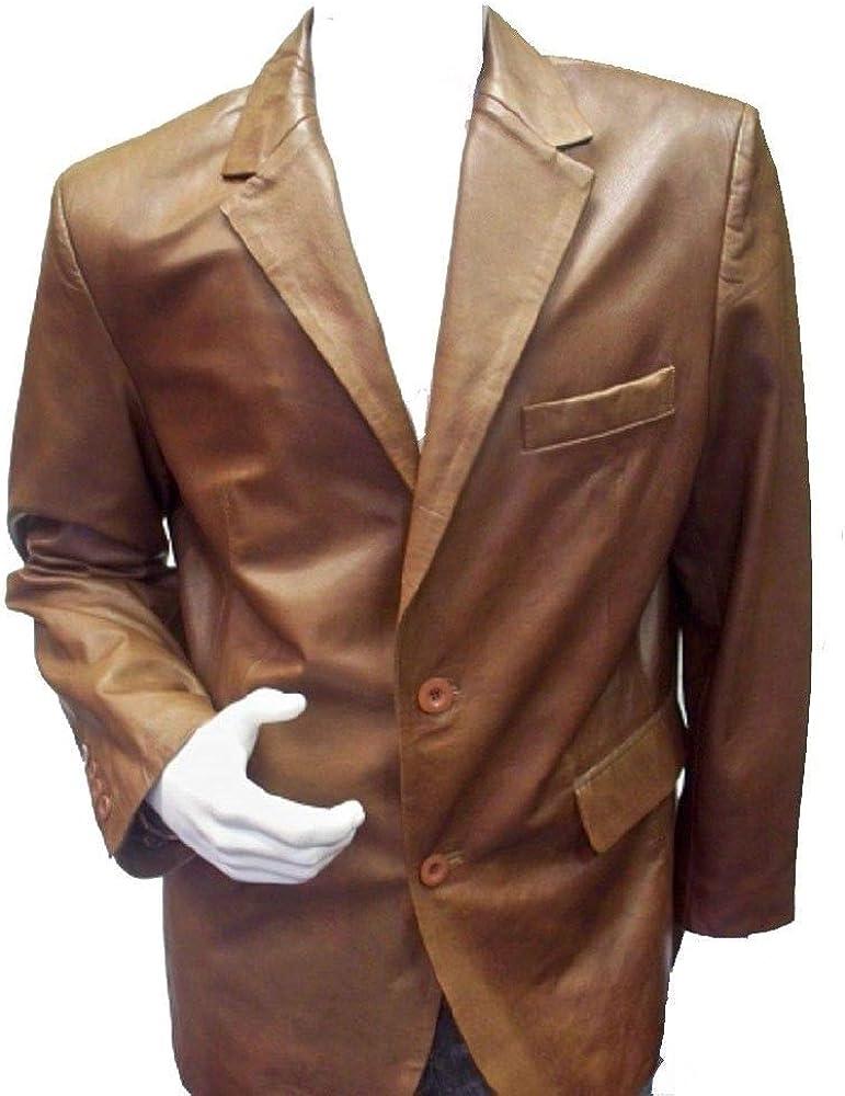 Pristine Leather Mens Real Lambskin Leather Beige Blazer Coat Jacket MB-30
