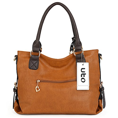 UTO Mujer bolso de hombro 2 piezas bolsa de PU bolsa de cuero bolso bolsas Set Beige Beige