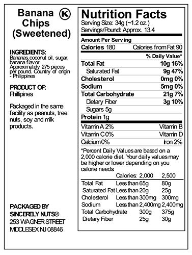 Sincerely Nuts Banana Chips Sweetened - Insanely Delicious - Three Lb. Bag – Packed With Mineral Nutrients - Ready To Eat - Sealed For Freshness - Kosher Certified by Sincerely Nuts (Image #2)