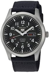 SEIKO 5 SPORTS Automatic made in Japan Black Dial Nylon Strap Watch SNZG15J1 Men's