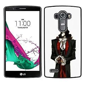 LG G4 , JackGot - Impreso colorido protector duro espalda Funda piel de Shell (Vampiro aristócrata Hombre Blanco Piel Negro Cabello)