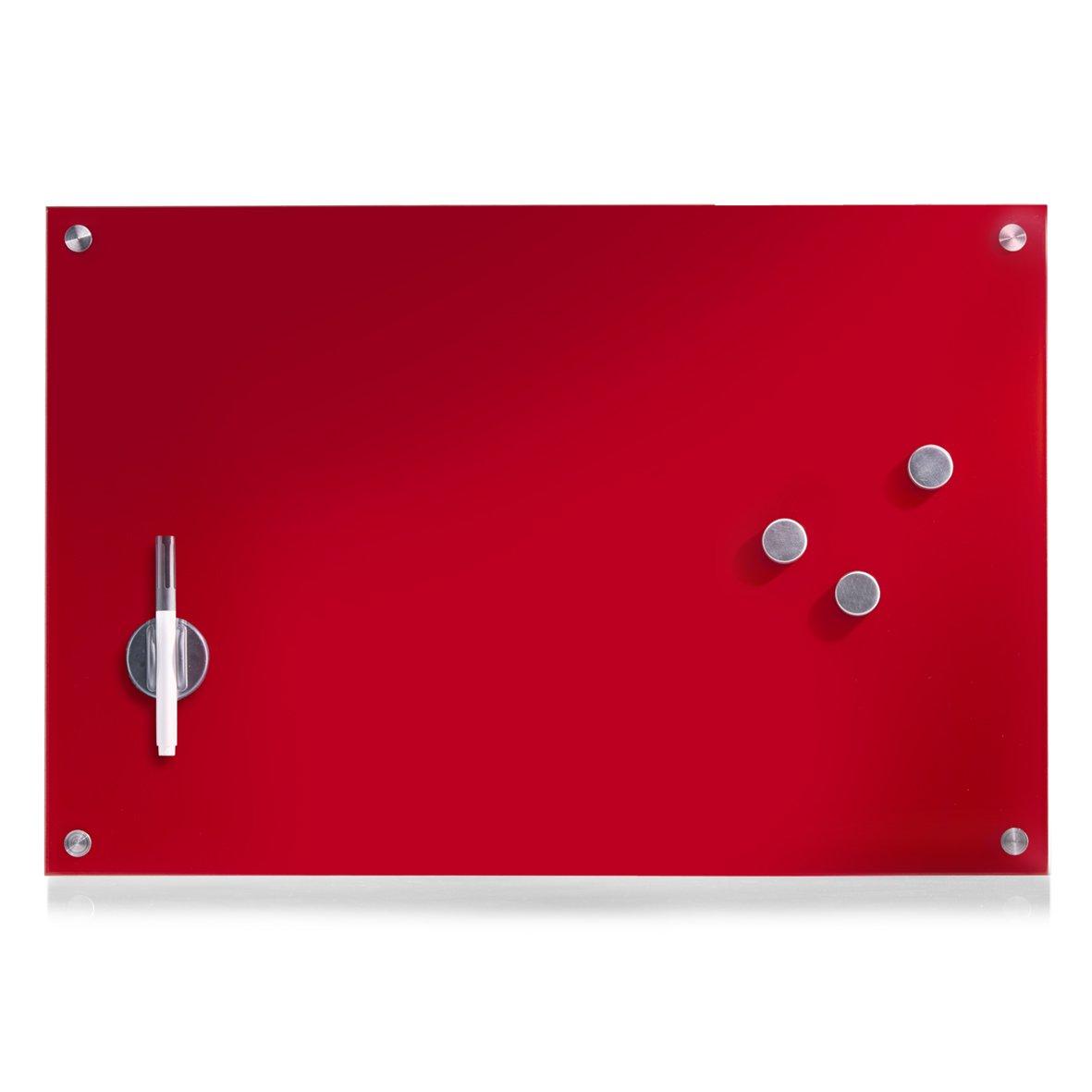 Zeller 60 x 40 cm Memo Board, Glass/Red