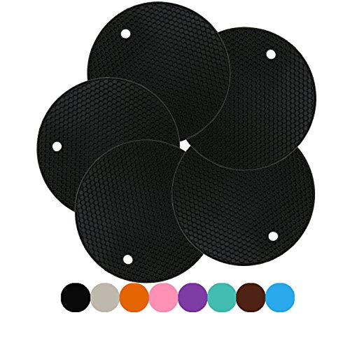 LogHog Set of 5 Silicone Trivets Mat Pot Holder Hot Pads Jar Opener Spoon Rest,Non Slip Flexible Durable Heat Resistant Hot Pad (Round) (Hot Pad Trivets Pot Holder)