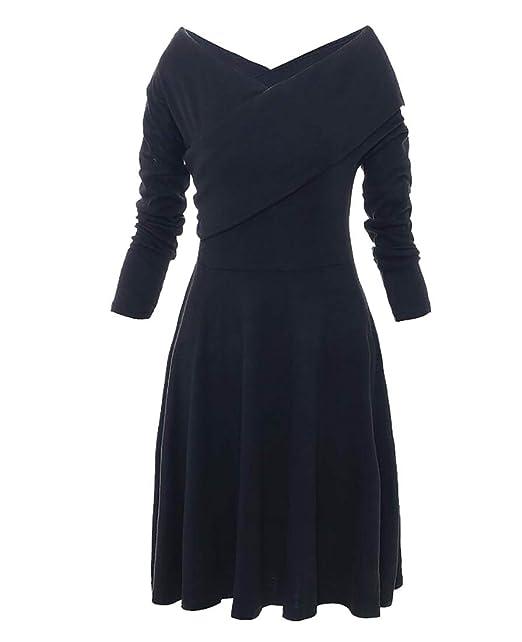 892b20a11e WSPLYSPJY Women s Loose Double V Neck Long Sleeve Swing Skaters Dresses  Black XS