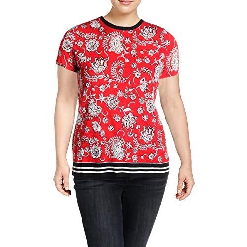 LAUREN RALPH LAUREN Womens Plus Linen Floral Print Pullover Top Red ()