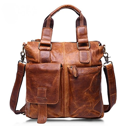 ZEEMOO Men's Crazy Horse Leather Business Bag A4 Work Tot...