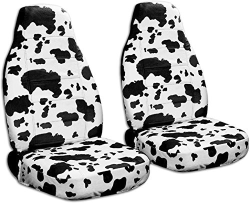 Animal Print Car Seat Covers: Cow (Big Pattern) - Semi-Custom Fit - Front - Will Make Fit Any Car/Truck/Van/SUV (30 Prints) (Cow Seat Covers)