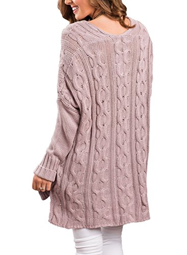 Col Rose Pull en Tricots Femme Longue XXL S Sweater Mail Manche Rond Chandail Hiver Automne Dokotoo XCnZx