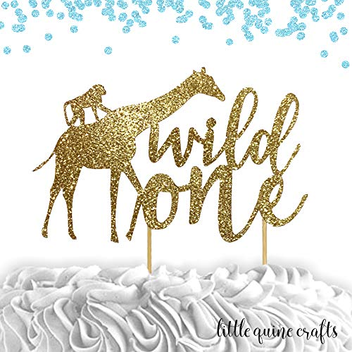 1 pc wild one jungle safari animals cake smash topper first birthday girl boy summer theme gold rose gold black silver blue glitter
